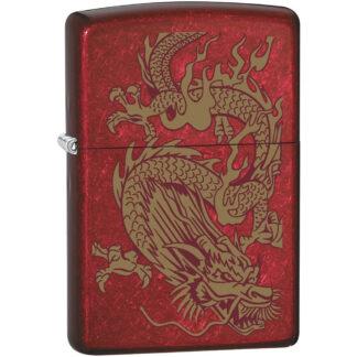 Zippo Rojo Manzana Caramelo con Dragon Dorado