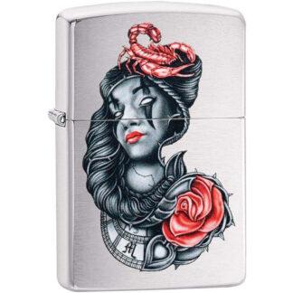 Zippo Mujer con Rosa y Escorpion